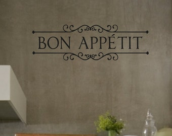 Vinyl Wall Decal-  Bon Appetit - Vinyl Lettering Decor Words for your wall  Quotes for the wall