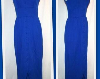 1970s Lou-Ette California Sleeveless Button Front Royal Blue Long Vintage Deadstock Dress