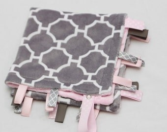 Baby Ribbon Tag Blanket - Minky Binky Blankie - Grey Geometric with Baby Pink