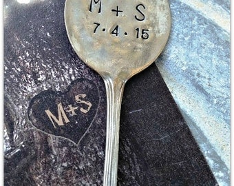 Wedding, Save the Date, Personalized, Hand Stamped, Vintage Spoon, Reception, Photo Prop, Keepsake, Something Old, Wedding Date, Initials