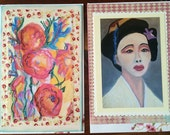 Geisha Girl and Roses - 2 Large photo art card of original art by Trish Vernazza