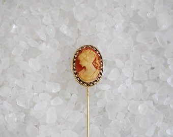 """Vintage 1950's Grecian Woman Cameo Hat Pin - Stick Pin - Short 2 1/4"""" Length - Millinery Accessories"""