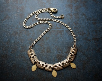 Vintage Gold Arrow Chain Necklace with Brass Paddle Dangles and Filed Curb Chain