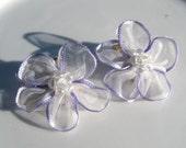 Vintage Clip On Earring Lavender & White Ribbon Flowers Beaded Center Spring Summer Bridal Accessory