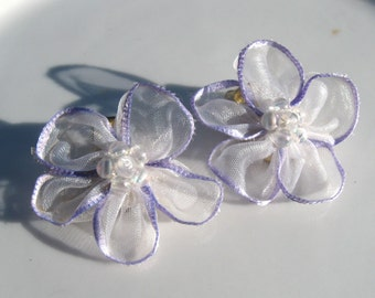Vintage Clip On Earring Lavender & White Ribbon Flowers Beaded Center Spring Summer Bridal Accessory