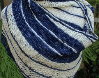 Cream and White In the Navy Striped Fine Merino Wool Shawl or Shawlette