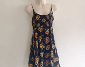 Vintage 1990s Sunflower Print Ruched Mini Fit and Flare Sundress