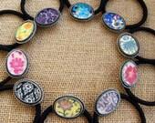 BLACK Purple Damask Artsy Elegant Romantic Shabby Chic Ponytail Holder - Free Shipping