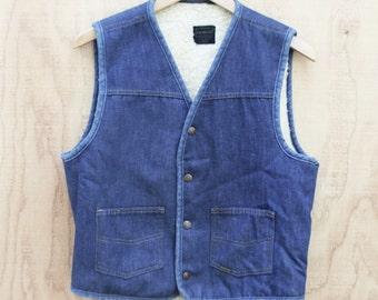 Vintage Sears Denim Vest - Faux Fleece - Men's Medium