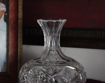 American Brilliant Cut Glass Decanter ~ Crystal Carafe ~ Lead Glass