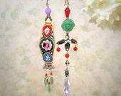 OOAK Mosaic Garden Vintage Micro Mosaic Asymmetrical Rose Earrings Romantic Red Purple Green Earrings Colorful Flower Earrings Art Jewelry