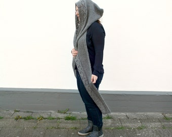 Gray Hooded Scarf Scoodie, Hand Knitted Scarf Hood, Luxury Mohair Hood Scarf, Womens Winter Fashion Gift, Grey Pixie Hood Fantasy Costume