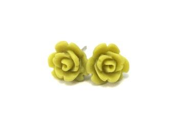 Mini Khaki Rose Earrings- Surgical Steel or Titanium Post Earrings- 9mmBlack Friday Sale 20% Off