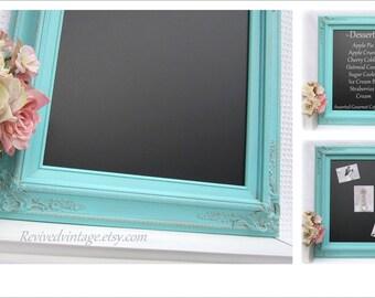 "BLUE WEDDING DECORATIONS Decor Spring Wedding Robin's Egg Blue Decor 27""x23"" Magnetic Chalkboard Chalk board Shabby Chic Kitchen Unique Gift"