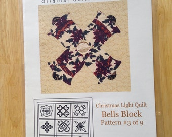 Christmas Light Quilt by Cross Walk Creations - Pattern #3 of 9 - Bells Block