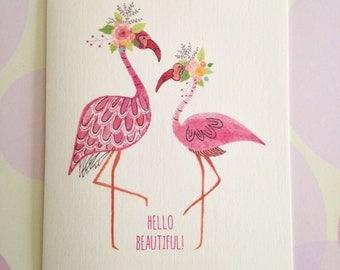 Card Set, Flamingo Card, Stationery, Set of 6