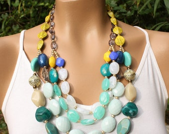 Long Chunky Colorful Statement Necklace, Yellow, Blue, Turquoise, Multi color, Anthropologie, Solstice