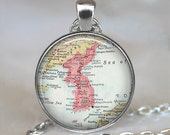 Korea map necklace, Korea necklace, Korea map pendant, Korea pendant, Korea keychain, Korea key fob map jewelry