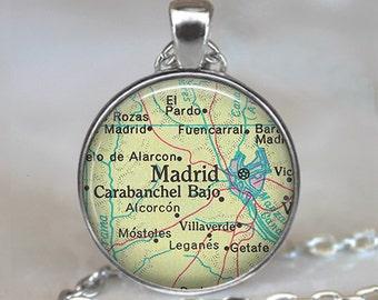 Madrid map necklace, Madrid map pendant, Madrid necklace, Madrid pendant, Madrid Spain pendant, map jewelry keychain key chain