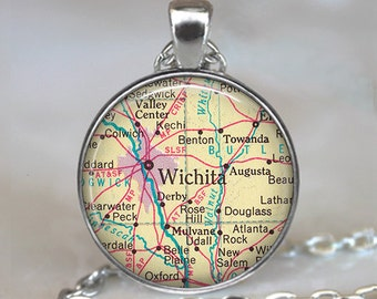 Wichita map pendant, Wichita map necklace, Wichita pendant, Wichita necklace, Wichita, Kansas keychain key chain