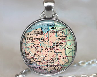 Poland map necklace, Poland map pendant, Poland necklace, Poland pendant, Poland keychain key chain map jewelry