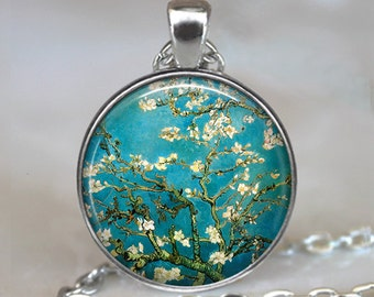 Van Gogh Almond Branch in Bloom necklace, Van Gogh art pendant, Van Gogh art necklace, Van Gogh keychain key chain key fob