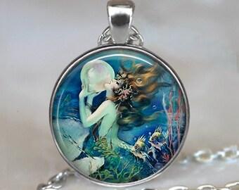 The Mermaid's Pearl pendant, mermaid necklace, mermaid pendant, mermaid jewelry, mermaid jewellery, mermaid key chain key fob