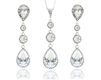 Bridal Jewelry Set Wedding Earring And Necklace Set Long Teardrop Earrings Sparkly Jewelry Bridesmaid Jewelry Cubic Zirconia Wedding Jewelry