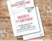 Paper Airplane Party Invitation - DIY Party Printable  / Birthday Invitation / Airplane / Paper Plane