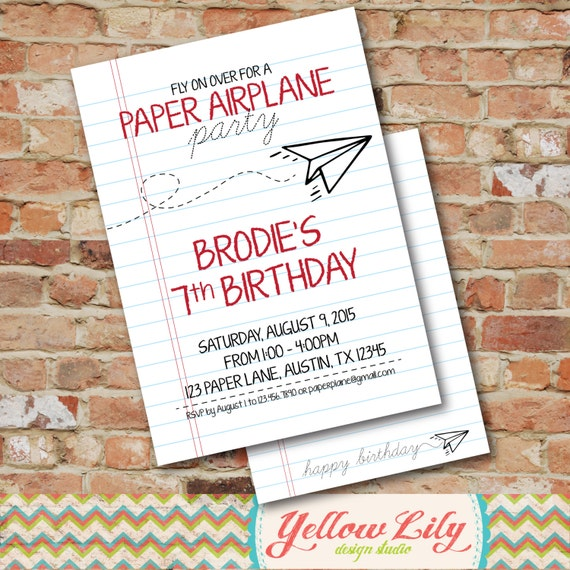 Airplane Birthday Invitation Diy Printable By Vindee On Etsy: Paper Airplane Party Invitation DIY Party Printable
