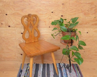 Vintage 60's Danish Modern Teak Chair With Square Seat Angular Legs & Scrolled Back