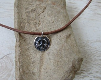 Peace Charm Necklace, Sterling Silver Peace Necklace, Charm with Brown Leather Necklace, Beach Necklace, Surfer Jewelry