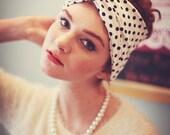 White and Black Polka Dot Turban Headband, Polka Dot Headband, Spotty Turband Headband