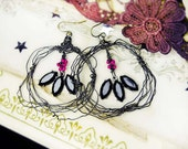 14 DOLLAR SALE Rustic Wire Earrings - Primitive Hoop Assemblage Earrings - Crimped Festoon Hoops, Black Glass Gems, Hot Pink Beads
