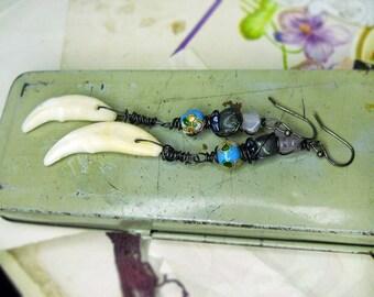 Rustic Beaded Earrings - Long Trickster Totem Earrings - Coyote Teeth, Stars, Flowers, Striped Clay, Blue Cloisonné Beads -  Power Earrings