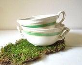 Sugar Bowl & Creamer Set, Mercer Pottery, Green Band Twist Handle, Antique Ceramic Serving Pieces