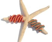 Turquoise and Coral (orange , peach , salmon) - Peyote Stitch Dreadlock Beads - Ocean Flirt 3D coil