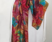 Large Scarf/Shawl Wrap Wide Hand-Painted Silk Jewel Colorful Colors