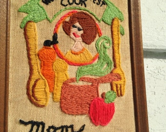 Mom, WORLD'S GREATEST Cook - vintage 1980s Kitsch Needlepoint Art - for Mother, Mother's Day, Birthday, Any Day