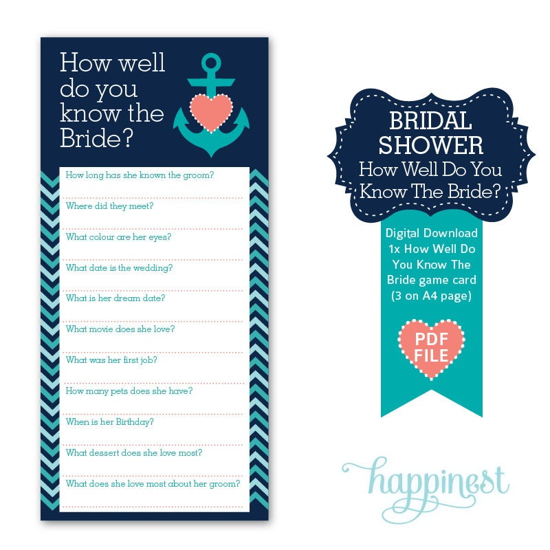 How Well Do You Know The Bride Bridal Shower Game Hen's