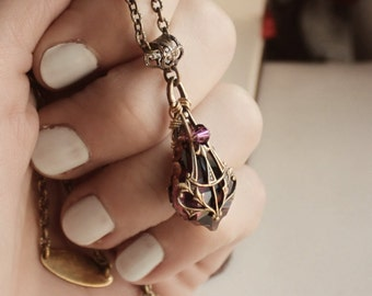 Brass Swarovski Necklace - Purple - Amethyst - Victorian - Fantasy Winter Wedding - Bridal - Holidays - December - Christmas