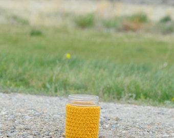 Mason Jar Cozy in Gold - Jar Cozies - Hostess Gifts - Mason Jar Accessories - Mason Jar Gifts  - Mason Jar Hugger