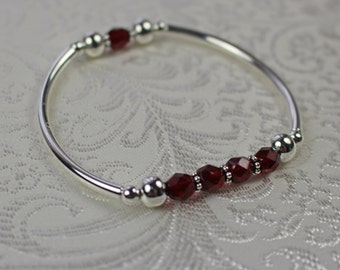 Garnet Red and Silver Stretch Bracelet - Stretch Bracelet - Red Bracelet - Silver Bracelet - Bangle Bracelet - Garnet Bracelet
