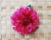 Cute pompon dahlia in hot pink silk hair flower rockabilly retro 40s 50s