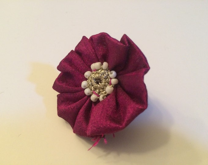 """Dog Collar Flower, 2"""" Wine Red Fancy Flower for Collar of small breed dogs, cats, bunny rabbits or ferret"""