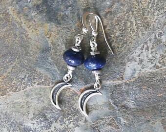 Moon Earrings, Lapis Earrings, Dangly Blue Earrings, Natural Stone Earrings, Blue Moon Earrings, Handmade Earrings, Bohemian Earrings
