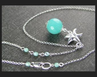Aqua Blue Jade Necklace Sterling Silver Starfish Necklace Sea Blue Stone Pendant Necklace Summer Ocean Beach Jewelry