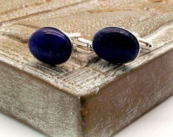 Midnight Sea II Lapis Lazuli Cufflinks - Deep Blue Lapis Lazuli Oval Cufflinks - Blue Cufflinks