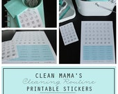 CLEAN - Clean Mama's CLEANING ROUTINE Printable Stickers - 2 documents - Instant Download
