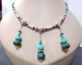Turquoise Indian Necklace, Red Bamboo Coral Beads, Aztec Silver Bails, Blue Speckled Pottery Beads, Luxurious Pendant Necklace, Southwestern